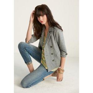 CAbi #393 Gray Shrunken Pea Coat Soft Size Medium